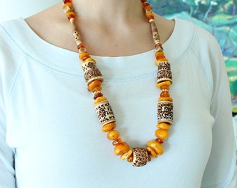 Vintage Amber and Carved Bone (or Horn) Boho Necklace, 1970s / Natural Raw Baltic Amber
