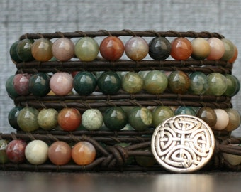 wrap bracelet - fancy jasper on black brown leather - celtic knot jewelry - mens or womens - bohemian - earth tone