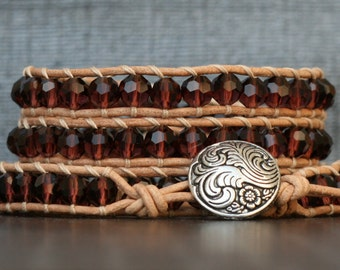 READY TO SHIP crystal leather wrap bracelet - wine burgundy on natural leather - beaded ladder bracelet