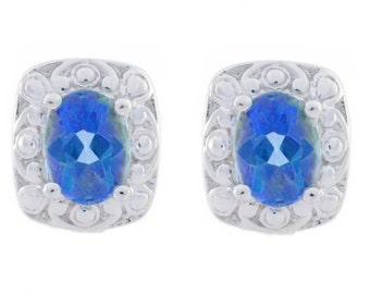 3 Ct Blue Mystic Topaz Oval Stud Earrings .925 Sterling Silver
