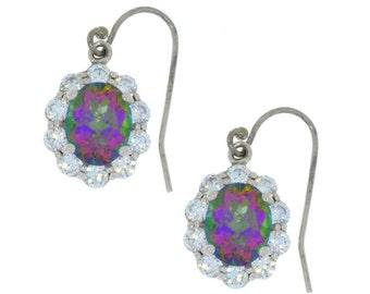 Mystic Topaz & Zirconia Oval Dangle Earrings .925 Sterling Silver