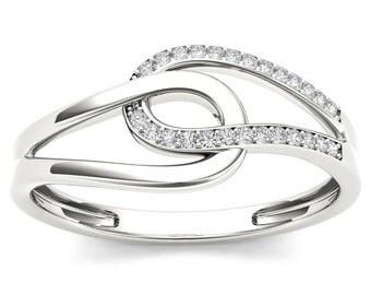 10Kt White Gold Diamond Knot Ring