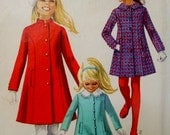 Vintage Girl's Coat, Princess Seams, Welt Pockets, Stand Up or Peter Pan Collar, Simplicity 7887 Child Size 4 1960s