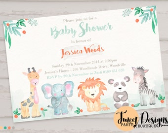 Attractive JUNGLE ANIMAL BABY Shower Invitation, Watercolor Jungle Animal Invitation,  Jungle Animals Invitation, Animal