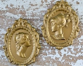 Vintage Gold Plaster Women Wall Hanging Silhouette Art