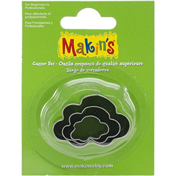 """3 piece cloud cookie cutter set with sizes from 7/8"""" to 1-3/4"""" tall"""