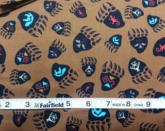 100% cotton Quilting fabric by the 1/2 yard SouthWest style by Benartex, bear paw  and native american symbols