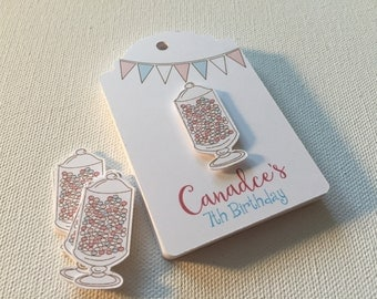 Birthday Favor Tags, Sweet 16, 5th, 7th, 8th, 10th, customized, personalized, 2x3 favor tag, quinceanera, baby, dimensional tags, T903