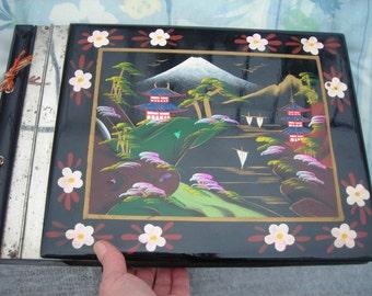 Collectible vintage black lacquered large MUSICAL PHOTO ALBUM, Japan!