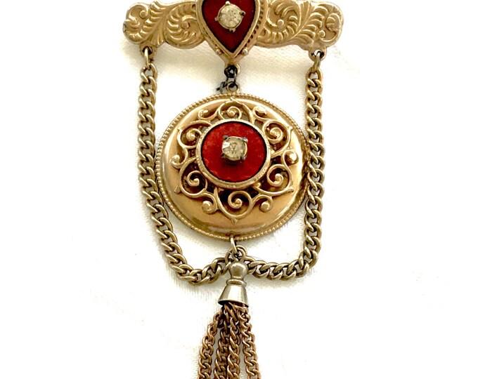 Vintage Filigree Dangle Brooch Swag Chain Enamel Heart Statement Pin