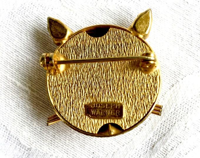 Joseph Warner Cat Brooch Kitty Pin Vintage Cat Jewelry Red Rhinestone