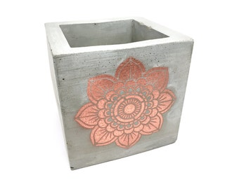 "Concrete Mandala Planter - 4"" Cube  - Indoor and Outdoor Planter - Office and Bathroom Storage"