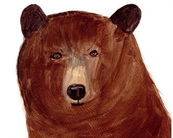 SALE Bear watercolour painting woodland animal bear illustration 9 x 12 inch one of kind