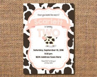 Cow Birthday Invitation, Farm Birthday Invite, Animal Birthday Invitation, Cow Print Party, Cow Birthday Party, Cow Decor, Animal Party