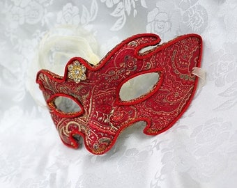 Red Masquerade Ball Mask Red and Gold Satin Brocade Paper Mache Contoured Masquerade Mask