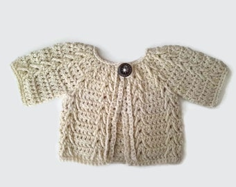 Peruvian wool baby sweater, cream aran baby girl jacket cardigan, baby dress smock, baby girl gift, baby shower present. 0-3-6 months
