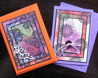 Set 5: Greeting Cards Set of 2 - Congratulations Cards, Birthday Cards, Blank Cards, hand-crafted