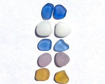 Sea Glass Earring Pairs, Genuine, 8mm to 12mm, Beach Glass, Beach Decor, Cabochons, Cornflower Blue,  Real, Authentic, Seaglass