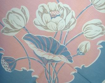 Vintage 50s PINK CoRAL AqUA Blue SuMMER Tablecloth Lotus Flower Tulip Water Garden HaNDPRINTED American MINT W Paper Tag Unused Pristine NOS