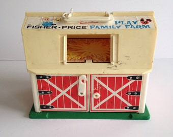 Vintage Original 1960's Fisher Price Barn with Fence / Little People FP Barn / 1967
