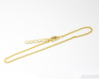 "Gold Bracelet Chain - 1.5mm Curb Chain - Plated Gold Chain - Complete 7.5"" inch Bracelet Chain with Clasp & Extension - Ships from USA"