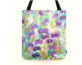 Large shopper tote Handmade tote Purple Tote Bag Enchanted  Magical Boho handmade hand sewn