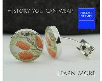Australian Cufflinks for Men - Vintage Australian Stamp Cufflinks - Needle Bottlebush