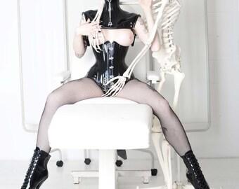 A4 Marie Devilreux & Skeleton print ( alt / goth / fetish / corset / medical) READY TO SHIP!