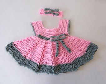 Summer Baby Dress - Baby Dress -  Summer Dress - Spring Dress -  Pink Baby Dress - Handmade - Crochet - Size 3 to 6 months