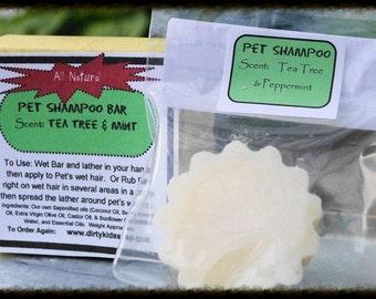 Tea Tree and Mint 4 oz. Pet Shampoo Bar | All Natural Pet Shampoo | Cures Dry Skin |  Moisturizes Fur | Best Pet Shampoo | Pet Products