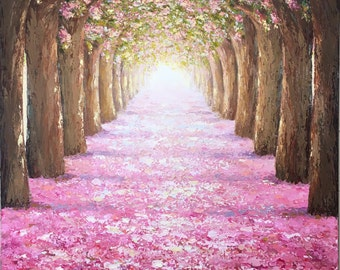 Spring Light Original Oil palette knife Painting Pink flower trees path soft sun light palette knife