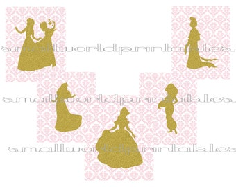 Princess silhouettes Pink and White Damask Gold Glitter Wall Art Digital File Printable 8x10 or printed