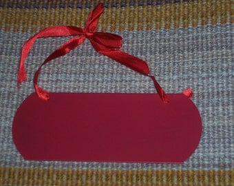 Red metal plaque blank,ready to finish and embellish,appx 7 in X 2.5 inch with red ribbon hanger,craft