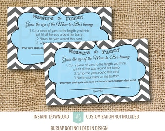 Baby Shower Game- Measure Moms Tummy- Instant Download-Customization NOT Included- Blue and Grey Only