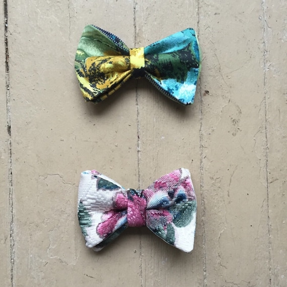 Boys Flower Bowties/Bow ties/Vintage/Handmade/Ethical