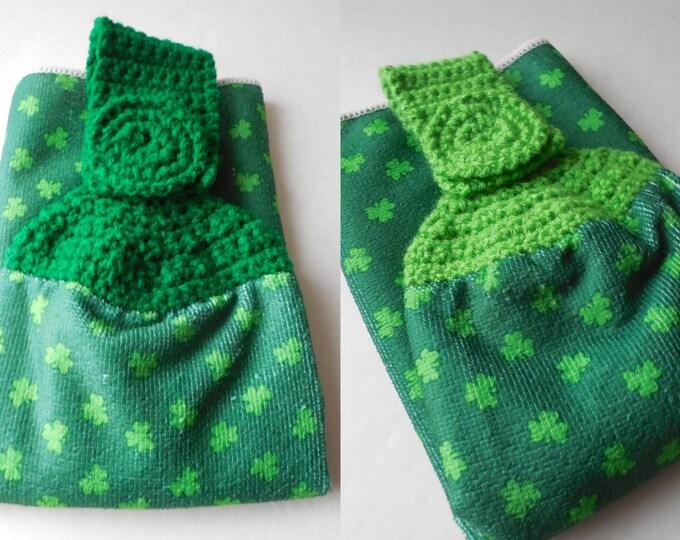 Shamrock Hanging Towel - St. Patricks Day - Green Crochet Top - Handmade Crochet - St. Patricks Day Decor - Made to Order