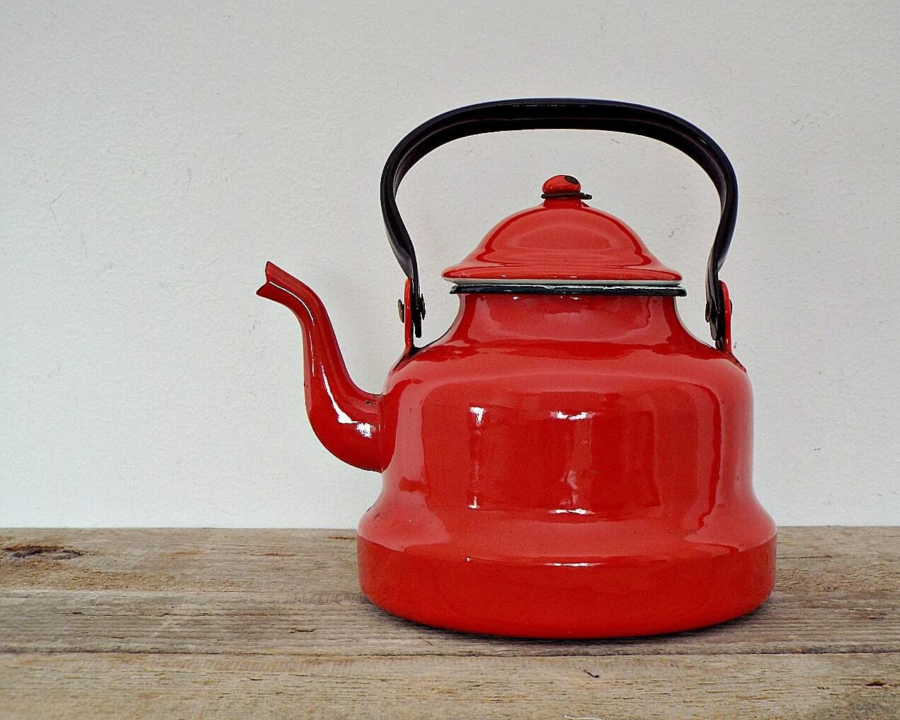 Enamel Coffee Or Tea Pot Vintage Red Rustic Coffeepot Teapot
