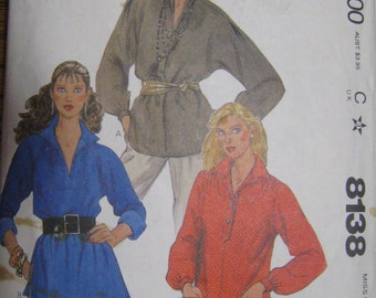 McCall's 8138 Misses' Tops Pattern