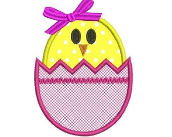Easter egg and chick embroidery design