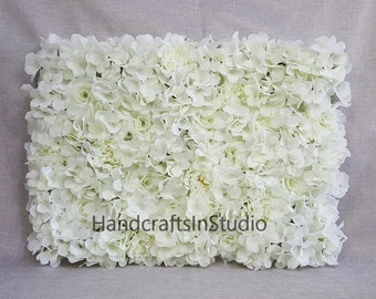 Cream White Flower Wall Backdrops Silk Rose Hydrangea Peony Floral Wedding Background For Bridal Photography Backdrops Panels 40*60cm
