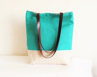 Green tote bag, Bottle green tote, Linen tote bag, Real  leather handles, Real leather straps, Turquoise green tote bag, Summer beach bag