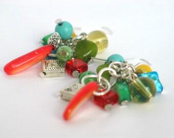 Multi-Color Earrings, Orange, Turquoise, Yellow, Green, Blue, Chandelier Earrings, Mother's Day, Cruise Wear, Resort Wear, Beach Earrings