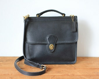 COACH Blue Black Leather Willis Bag 9927/ Vintage Coach Midnight Blue Crossbody Flap Messenger Satchel Handbag/ Classic Coach Purse