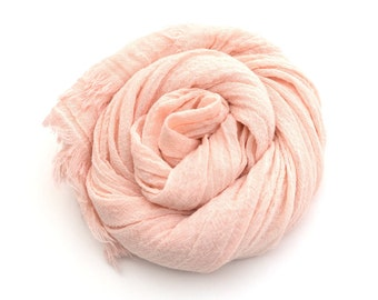 Nude Pink Cotton Scarf Pastel Scarf hand dyed Blush color