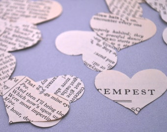 Shakespeare Wedding Confetti - Vintage Book Confetti - Paper Heart Confetti - Vintage Wedding Decor - Shakespeare Heart - Romantic Confetti
