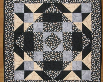 Contemporary Quilted Table Topper Black Gray Tan Quilt Quilted Table Runner