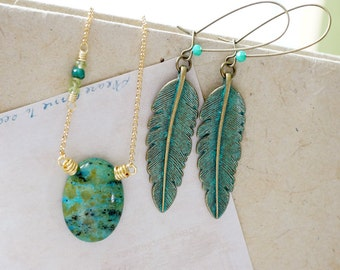 ONE-OF-A-KIND // Necklace & Earring Set, Patina Feather Earrings and Chrysocolla Earthy Necklace, Moonchild Gift for Her Set
