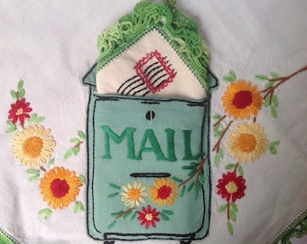 Amazing Vintage Mailbox Tablecloth, Rare Textile, Appliqué Pristine Never Used, Embroidered Stamp Address, Crochet Trim, Embroidery Cursive