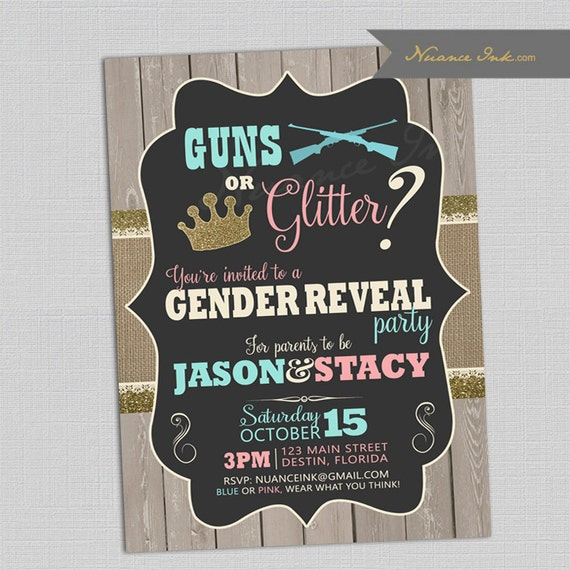 Guns or Glitter Gender Reveal Party, couples shower, pistols or pearls, baby shower, pink or blue, rustic, chic, staches or lashes, boy girl