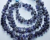 8 Inch, Super-Finest Quality,WATER SAPPHIRE IOLITE Faceted Drops Briolettes,4.5-6mm aprx
